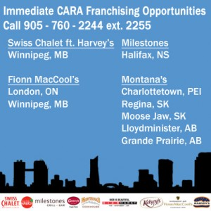 cara, opportunities, montana's, harvey's, swiss chalet, milestones, business opportunities, restaurant opportunities, franchise opportunities, Canada