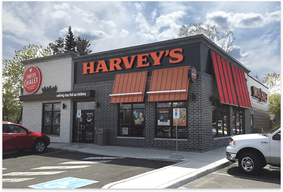 Harvey's and Swiss Chalet small combo exterior