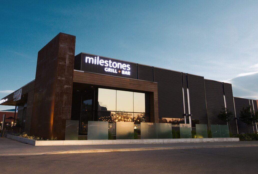 Milestones restaurant exterior at night