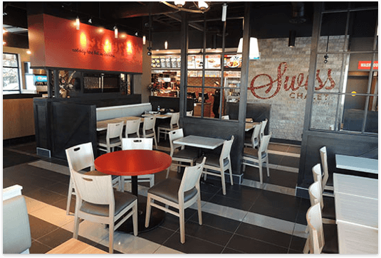 Swiss Chalet and Harvey's combo restaurant interior