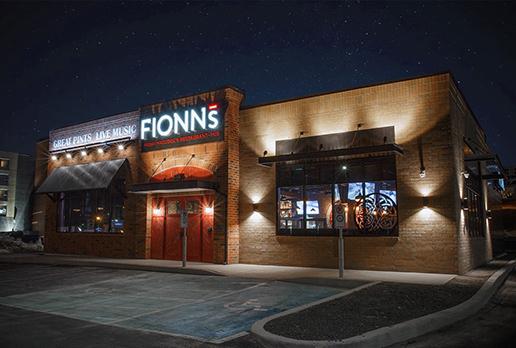 Fionn MacCool's restaurant exterior at night